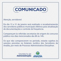 Prefeitura convoca servidores para atualização de cadastro