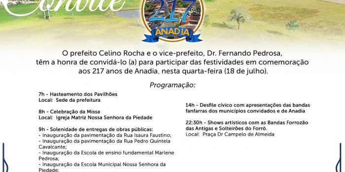 Prefeitura realiza programação especial em comemoração aos 217 anos de aniversário