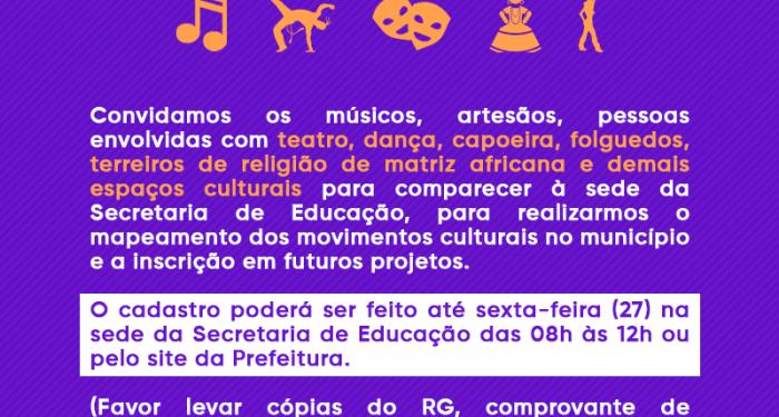 Comunicado para inscrição de movimentos culturais