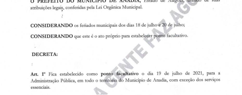 Decreta ponto facultativo nas Repartições Públicas Municipais o dia 19 de Julho.